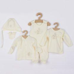 5-részes pamut baba együttes New Baby Mókusokkal dobozba bézs