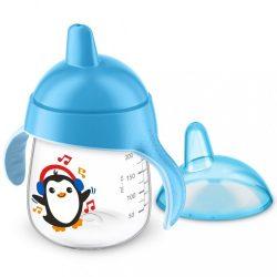 Bájos itatópohár Avent Premium Pingu 260 ml kék