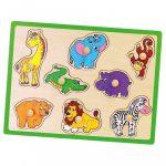 Gyerek fa puzzle fogantyúval Viga Állatkert
