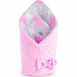 Kétoldalas pólya Minka New Baby 75x75 cm felhőcske rózsaszín