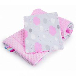 Kétoldalas együttes Minka New Baby babakocsiba felhőcske rózsaszín