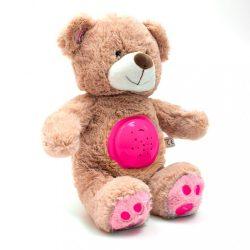 Plüss szundibarát maci projektorral Baby Mix rózsaszín