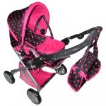 Gyermek babakocsi babáknak 2az1-ben Baby Mix rózsaszín pöttyökkel