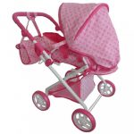 Gyermek babakocsi babáknak 2az1-ben Baby Mix rózsaszín virágokkal