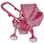 Gyermek babakocsi babáknak 2az1-ben Baby Mix rózsaszín - szivecskés