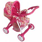 Gyermek babakocsi babáknak 2az1-ben Baby Mix rózsaszín - pillangós