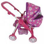 Gyermek babakocsi babáknak 2az1-ben Baby Mix lila - virágos