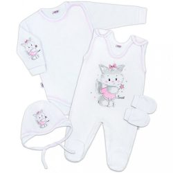 4 részes szett New Baby cica fehér-rózsaszín