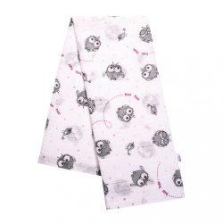 Pamut mintás pelenka New Baby fehér rózsaszín baglyocskával HUU