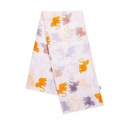 Pamut pelenka nyomtatott mintával New Baby fehér sárga elefántokkal