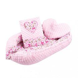Luxus babafészek párnával és paplannal New Baby Szívecske rózsaszín