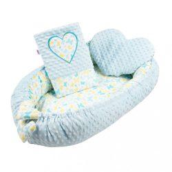 Luxus babafészek párnával és paplannal New Baby Szívecske kék