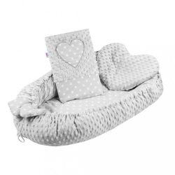 Luxus babafészek párnával és paplannal New Baby Szívecske szürke