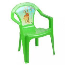 Gyerek kerti bútor- műanyag szék zöld béka