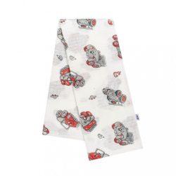 Pamut pelenka nyomtatott mintával New Baby fehér piros artókkal