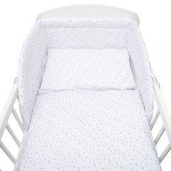 3-részes ágyneműhuzat New Baby 90/120 cm fehér szürke csillagok