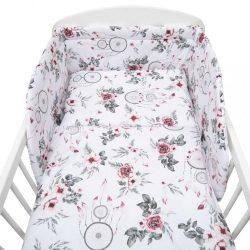 3-részes ágyneműhuzat New Baby 100/135 cm fehér virág és toll