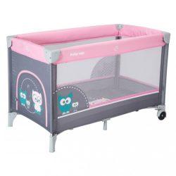 Gyermek utazóágy Baby Mix Bagoly rózsaszín