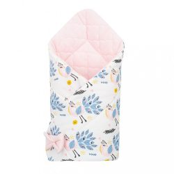 Kétoldalas pólya Velvet New Baby 75x75 cm páva rózsaszín