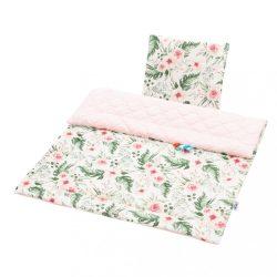 Kétoldalas együttes Velvet New Baby babakocsiba virágok rózsaszín