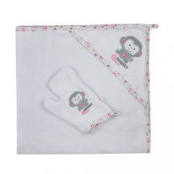 Kifogó fürdőkesztyűvel Koala Jungle fehér rózsaszín
