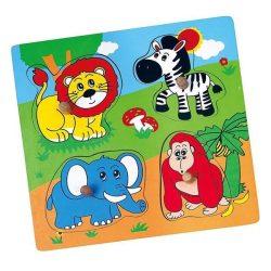 Fa fogantyús formaberakó puzzle Viga Állatkert