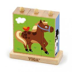 Fa pálcikás képes kockák Viga Farm