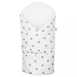 Pólya kókusz betéttel és masnival New Baby fehér szürke csillagok