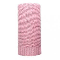 Bambusz kötött takaró NEW BABY 100x80 cm rózsaszín