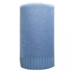 Bambusz kötött takaró NEW BABY 100x80 cm kék