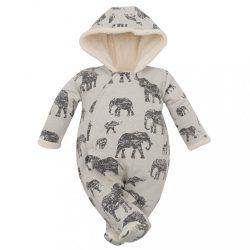 Téli baba kezeslábas kapucnival Baby Service Elefánt szürke