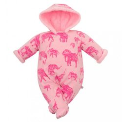 Téli baba kezeslábas kapucnival Baby Service Elefánt rózsaszín