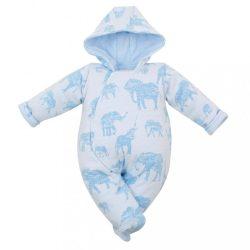 Meleg baba kezeslábas kapucnival Baby Service Elefánt kék