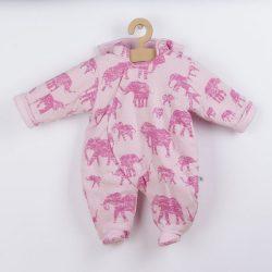 Meleg baba kezeslábas kapucnival Baby Service Elefánt rózsaszín