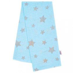 Pamut pelenka nyomtatott mintával New Baby kék szürke csillagokkal