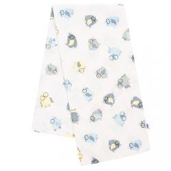 Flanel pelenka nyomtatott mintával New Baby fehér szürke-szürke-kék baglyócskával szemüvegbe