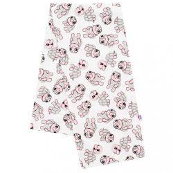 Flanel pelenka nyomtatott mintával New Baby fehér teknősök rózsaszín