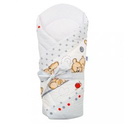 Pólya kókusz betéttel és masnival New Baby világos szürke macival