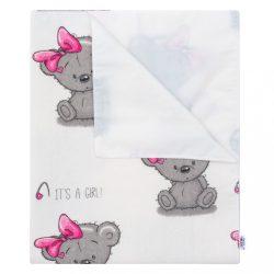 Vízálló flanel alátét New Baby Bear rózsaszín