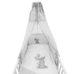 6-részes ágyneműhuzat New Baby Zebra exclusive 100/135 fehér-szürke