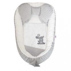 Babafészek paplannal kisbabák számára Minky New Baby Zebra exclusive fehér szürke