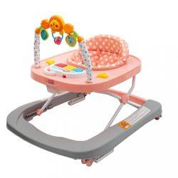 Gyerek bébikomp New Baby szilikon kerekekkel Forest Kingdom Pink