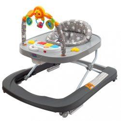 Gyerek bébikomp New Baby szilikon kerekekkel Forest Kingdom Gray