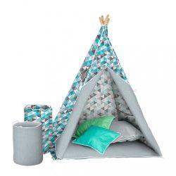 Gyermek luxus sátor felszereléssel Teepee Akuku türkiz-szürke