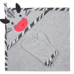 Kifogó fürdőkesztyűvel Koala Happy Zebra grey