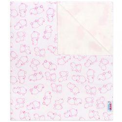 Vízálló flanel alátét New Baby vízilovak fehér- rózsaszín