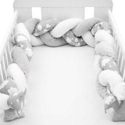 Védő fonott rácsvédő kiságyba New Baby Minka és Felhőcske szürke