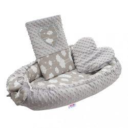 Luxus babafészek párnával és paplannal New Baby Felhőcske