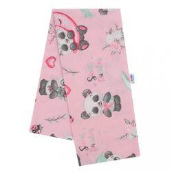 Flanel pelenka nyomtatott mintával New Baby rózsaszín pandamackóval
