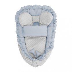 Babafészek paplannal kisbabák számára Minky Belisima Mouse kék